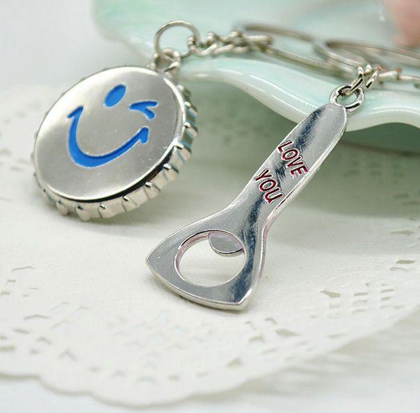His and Hers Love Silver Metal Keyrings - Emoji Design
