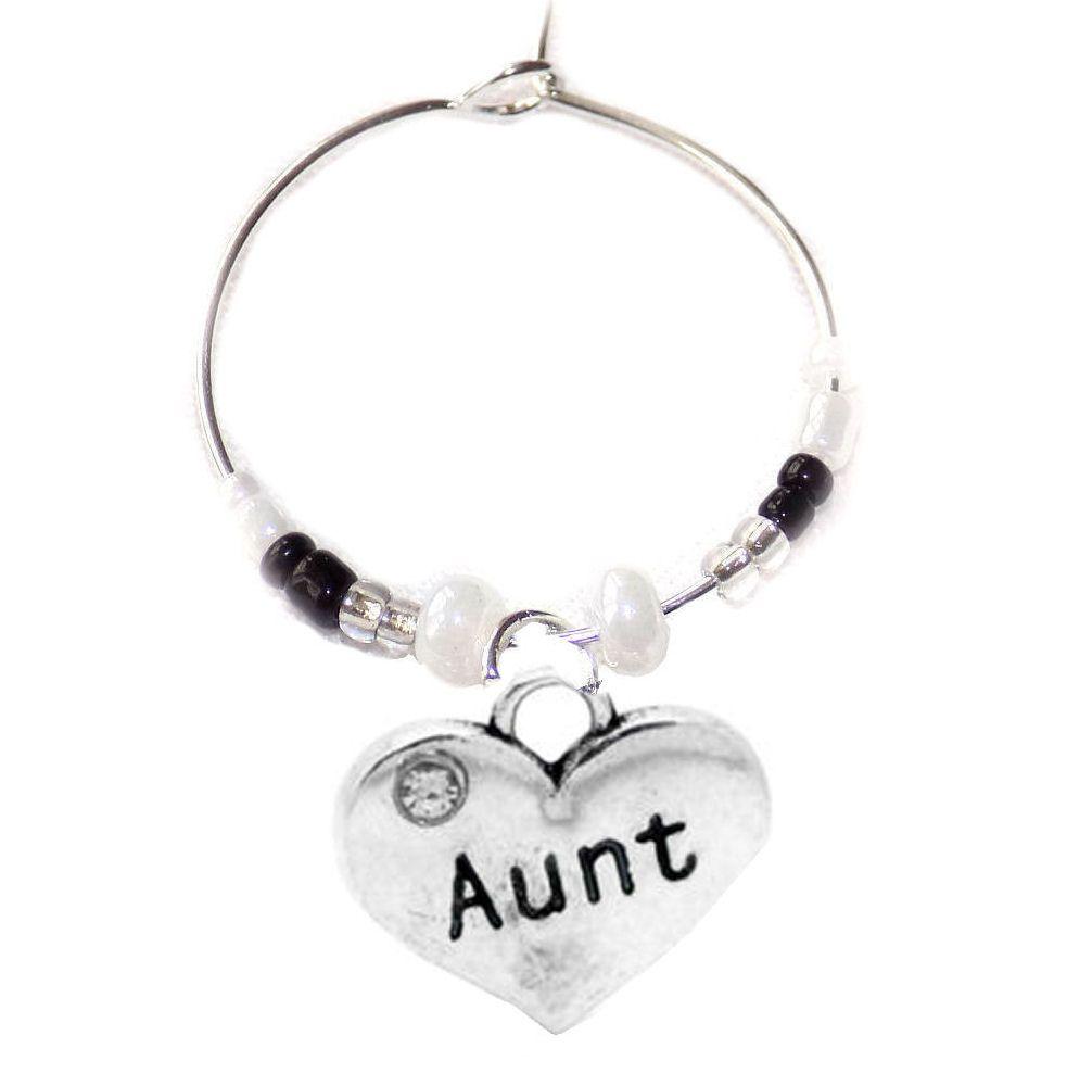 Aunt Wine Glass Charm