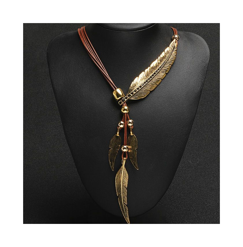 Gold Feather Pendant Statement Necklace