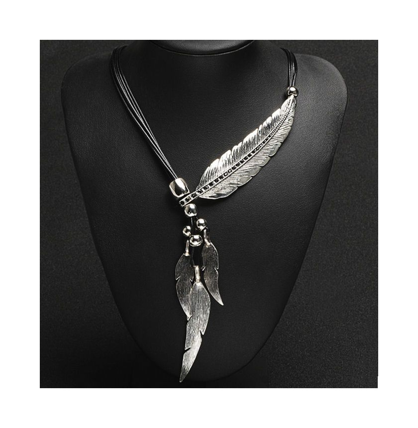 Silver Feather Pendant Statement Necklace