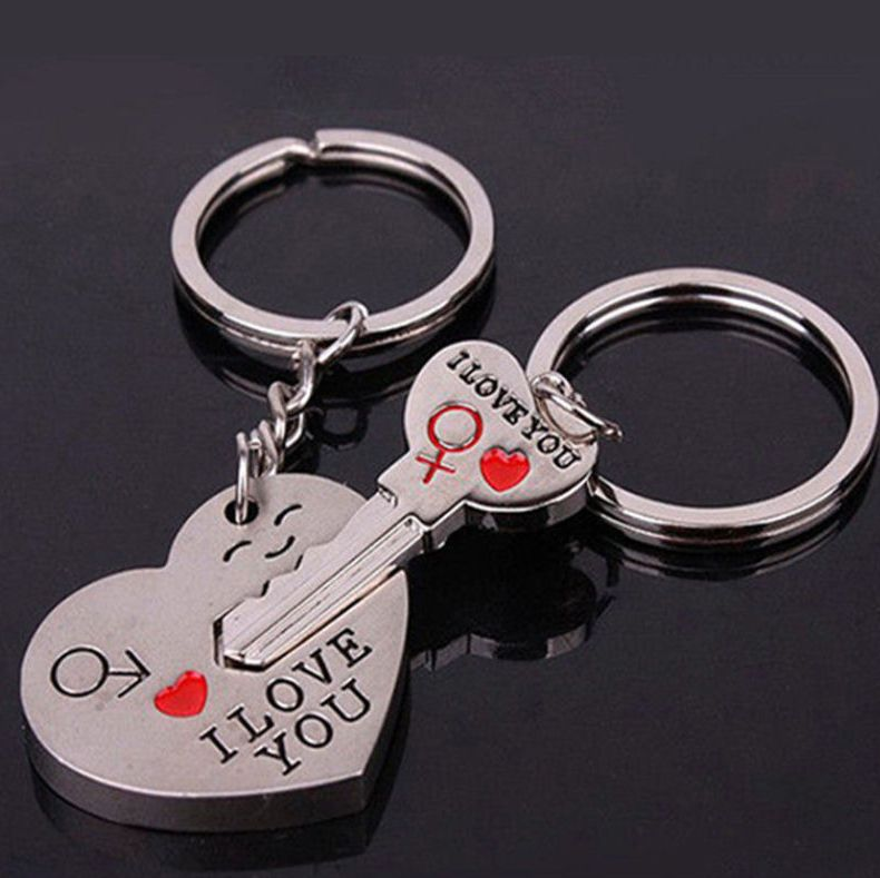 His and Hers Love Silver Metal Keyrings