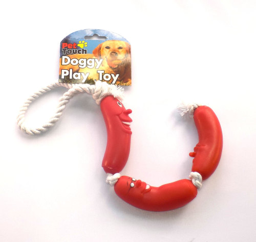 String of sausages plastic dog toy