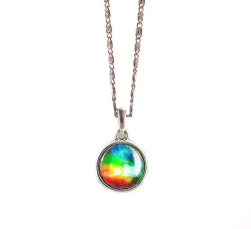 Galaxy Design Glass Pendant with Antique Silver Style Necklace - Rainbow