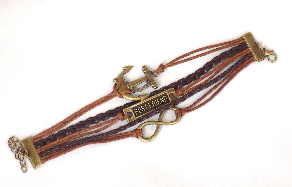 Brown Bracelet Best Friend Quote - Braided Style