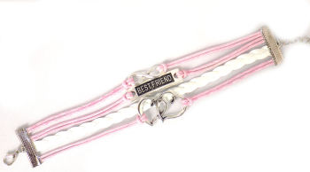 Infinity Bracelet Best Friend Quote - Pink and White