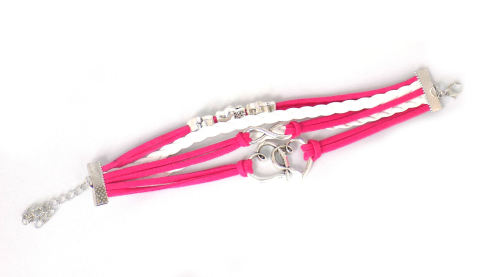 Pink & White Bracelet Love Heart Theme - Braided Style