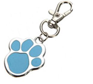 Keyring Fob Paw Print Design Dog Collar Charm Identity Tag