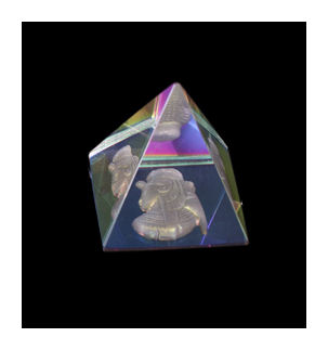 3D Effect Glass Egyptian Pyramid - Cleopatra 4cms base