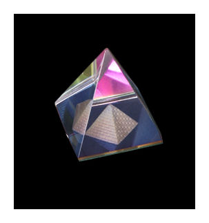 3D Effect Glass Egyptian Pyramid within a Pyramid 4cms base