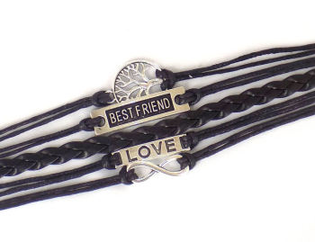 Infinity Bracelet Best Friend Quote - Black