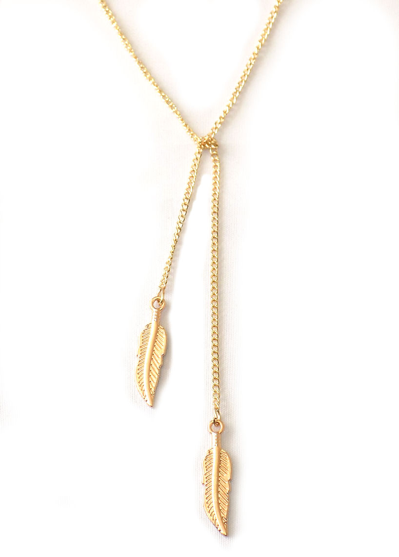 Gold coloured Leaf charm necklace
