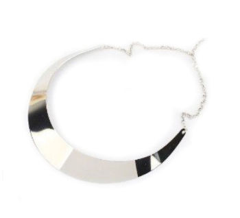 Metaillc silver choker necklace