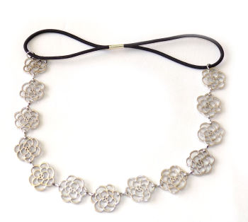 Silver elasticated headband with floral detail