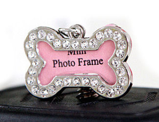 Mini Diamonte Photo Frame Dog Tag - Identity Pendant