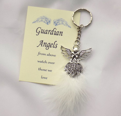 Guardian Angel Keyring with White Feather detail