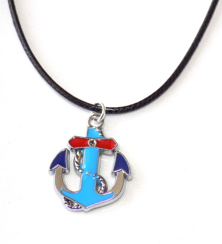 Nautical Anchor Mens Black Corded Necklace