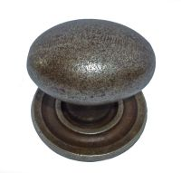 Oval Knob w/ Back Plate - 38mm Diameter Cast Iron A/I