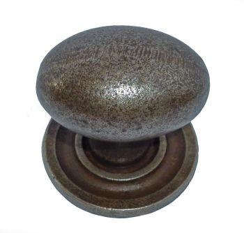 Oval Knob w/ Back Plate - 38mm Diameter Cast Iron A/I