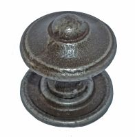 Domed Knob w/ Back Plate - 35mm Diameter Cast Iron A/I