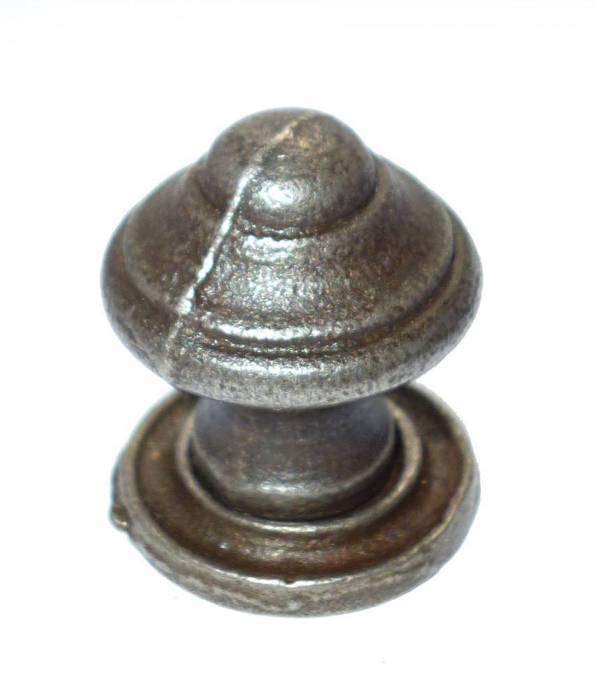 Domed Knob w/ Back Plate - 20mm Diameter Cast Iron A/I