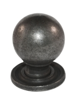Round Knob w/ Back Plate - 35mm Diameter Cast Iron A/I