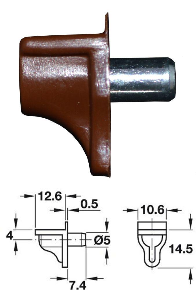 Plastic Shelf Stud (Brown) w/ Pin - 5mm