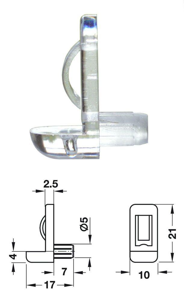 Plastic Shelf Stud (Transparent) w/ Safety Catch - 5mm