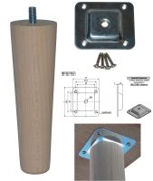 150mm Beech Tapered Leg w/ Level Fixing Plate