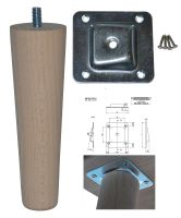 150mm Beech Tapered Leg w/ Angled Fixing Plate