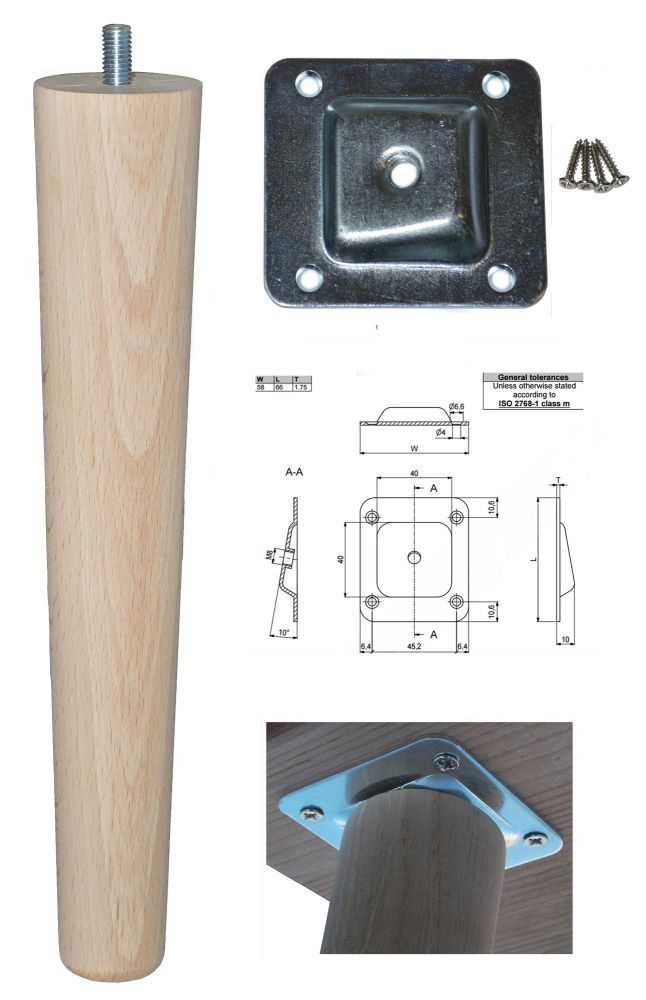 250mm Beech Tapered Leg w/ Angled Fixing Plate