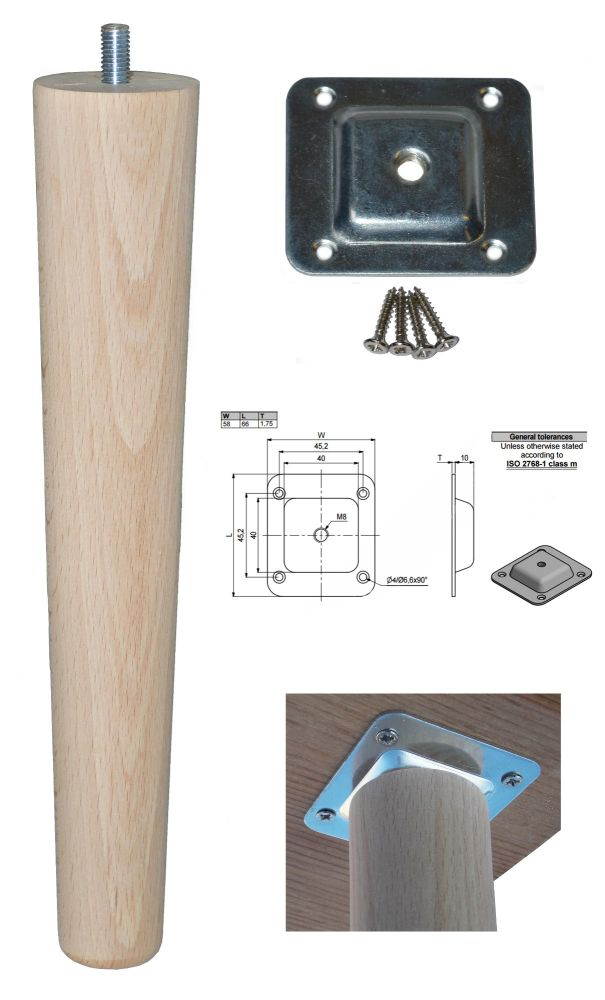 250mm Beech Tapered Leg w/ Level Fixing Plate