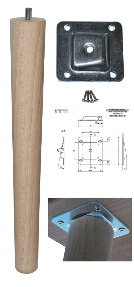 330mm Beech Tapered Leg w/ Angled Fixing Plate