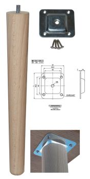 330mm Beech Tapered Leg w/ Level Fixing Plate