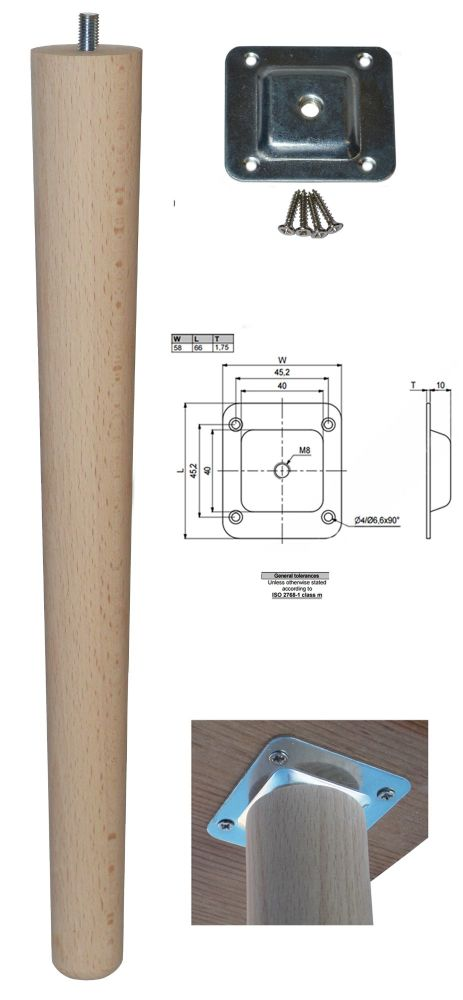 390mm Beech Tapered Leg w/ Level Fixing Plate