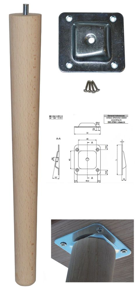 390mm Beech Tapered Leg w/ Angled Fixing Plate