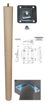 450mm Beech Tapered Leg w/ Angled Fixing Plate