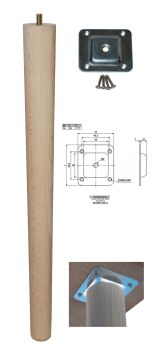 450mm Beech Tapered Leg w/ Level Fixing Plate
