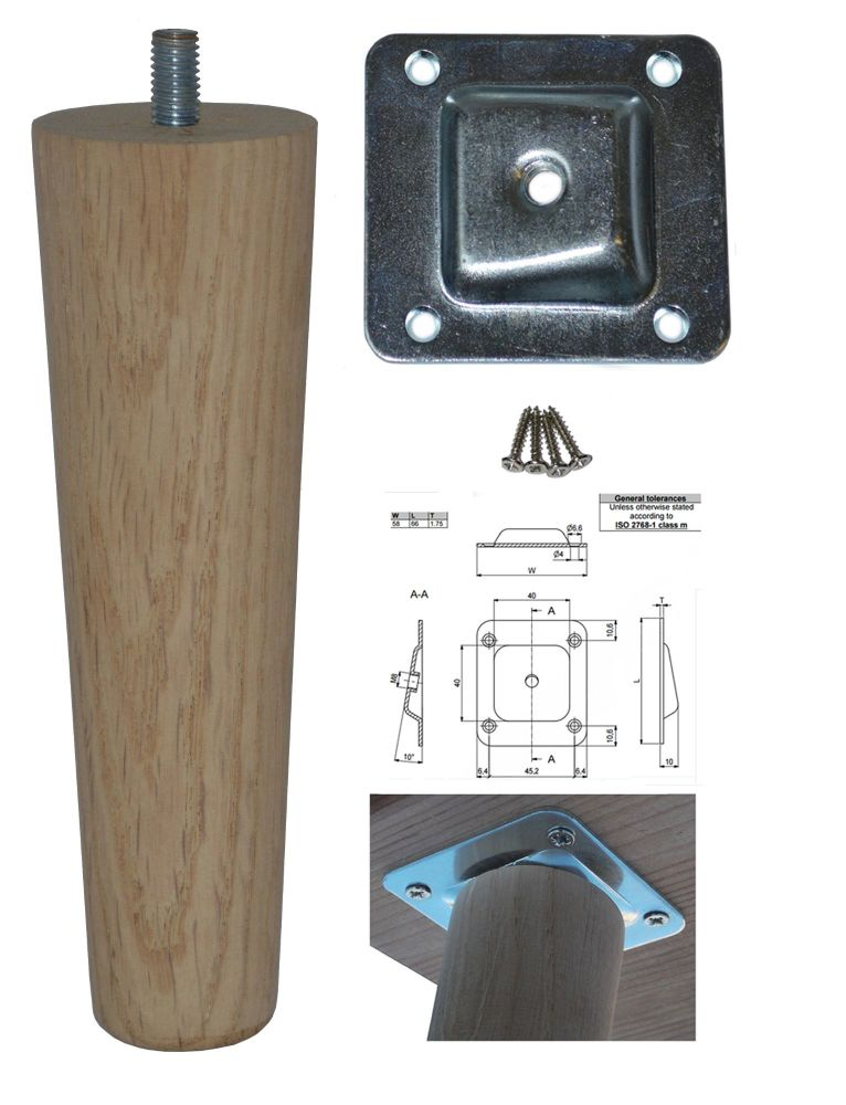 150mm Oak Tapered Leg w/ Angled Fixing Plate