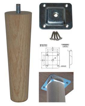 150mm Oak Tapered Leg w/ Level Fixing Plate