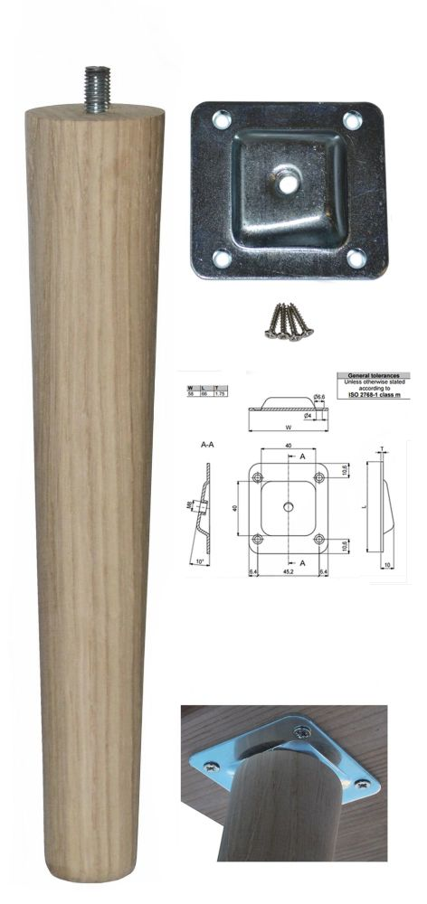 250mm Oak Tapered Leg w/ Angled Fixing Plate