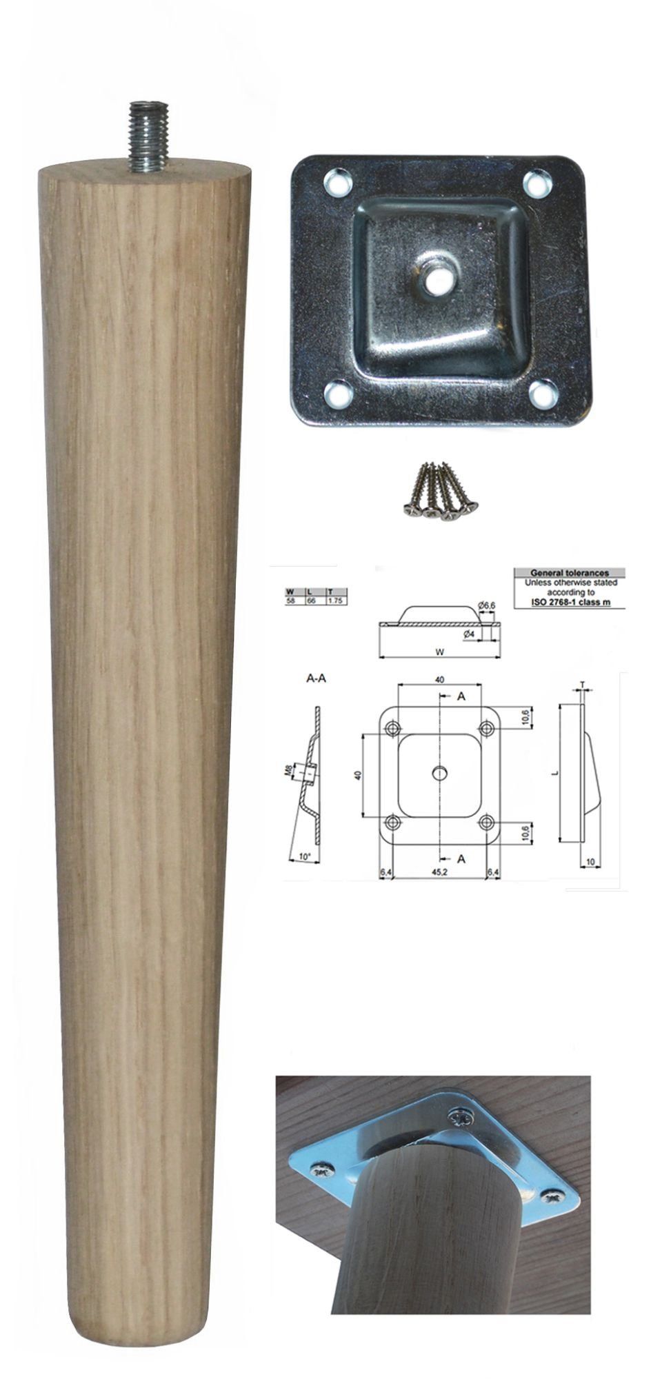 250mm Oak Tapered Leg w/ Angled Fixing Plate