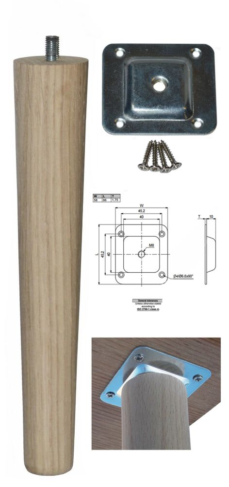250mm Oak Tapered Leg w/ Level Fixing Plate