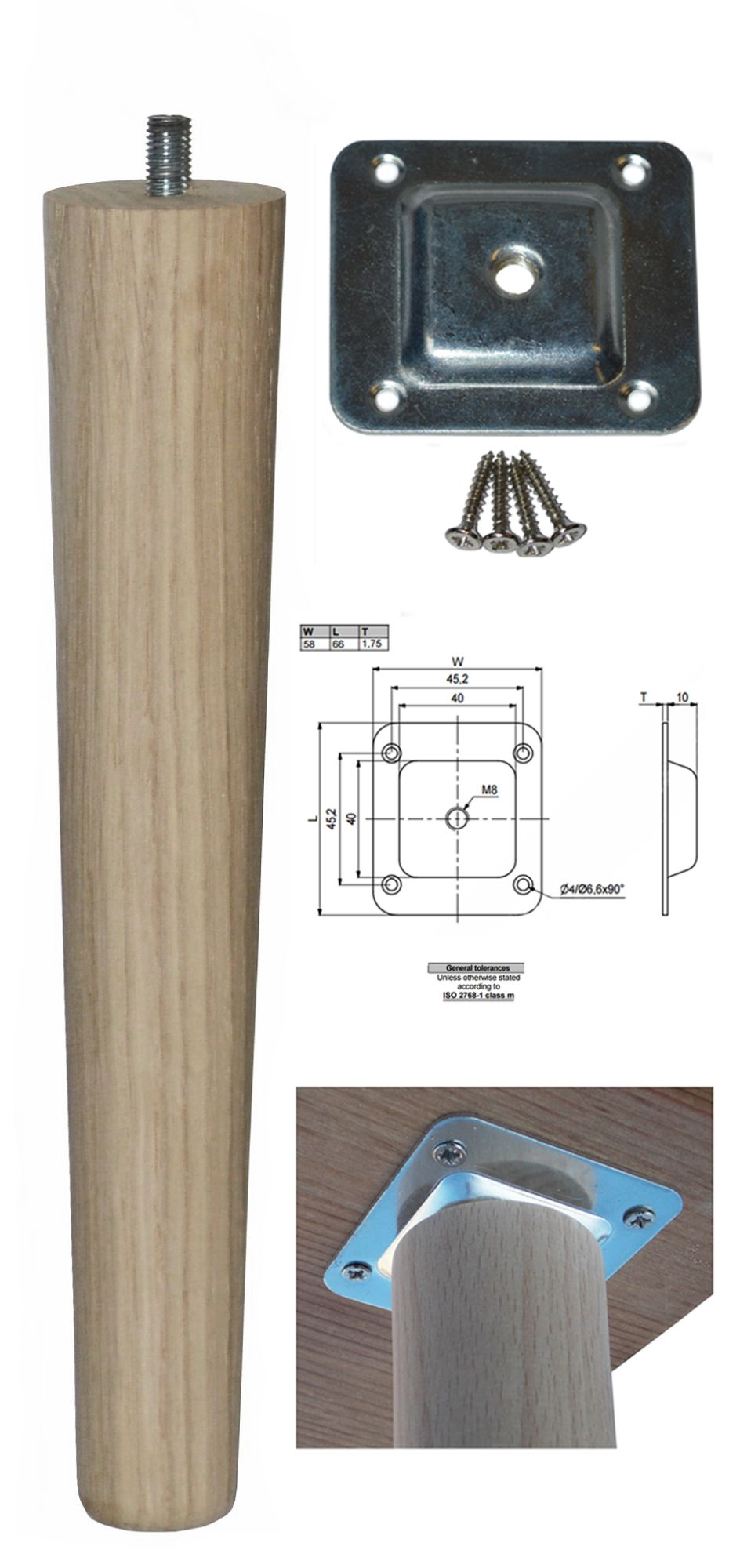 250mm Oak Tapered Leg w/ Level Fixing Plate