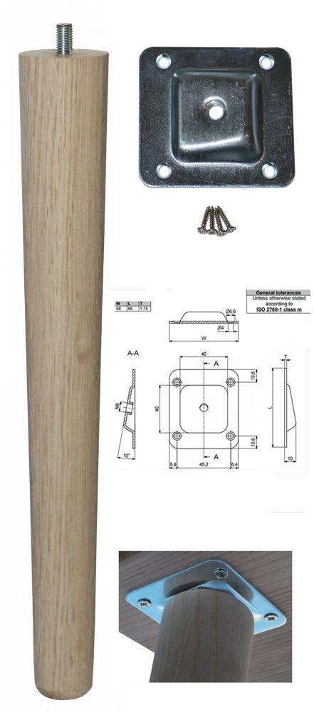 330mm Oak Tapered Leg w/ Angled Fixing Plate