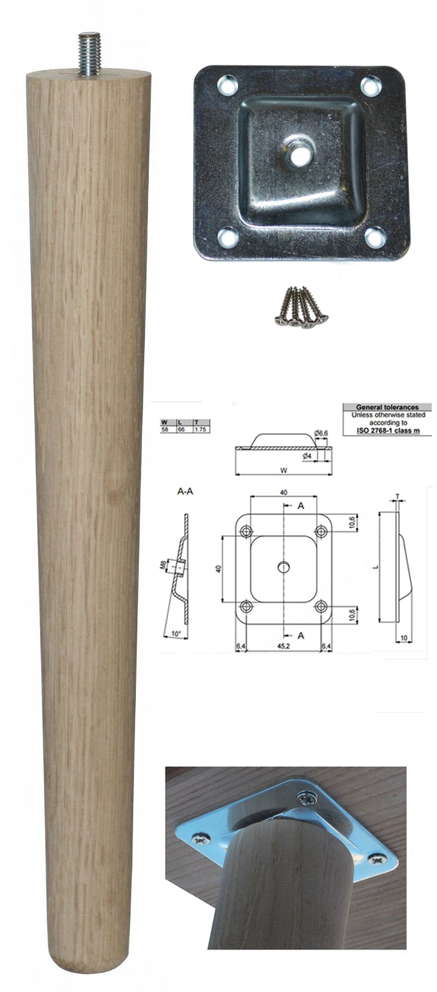330mm Oak Tapered Leg w/ Angled Fixing Plate