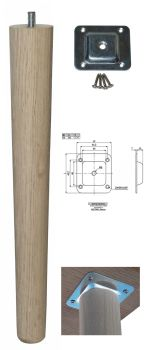 330mm Oak Tapered Leg w/ Level Fixing Plate