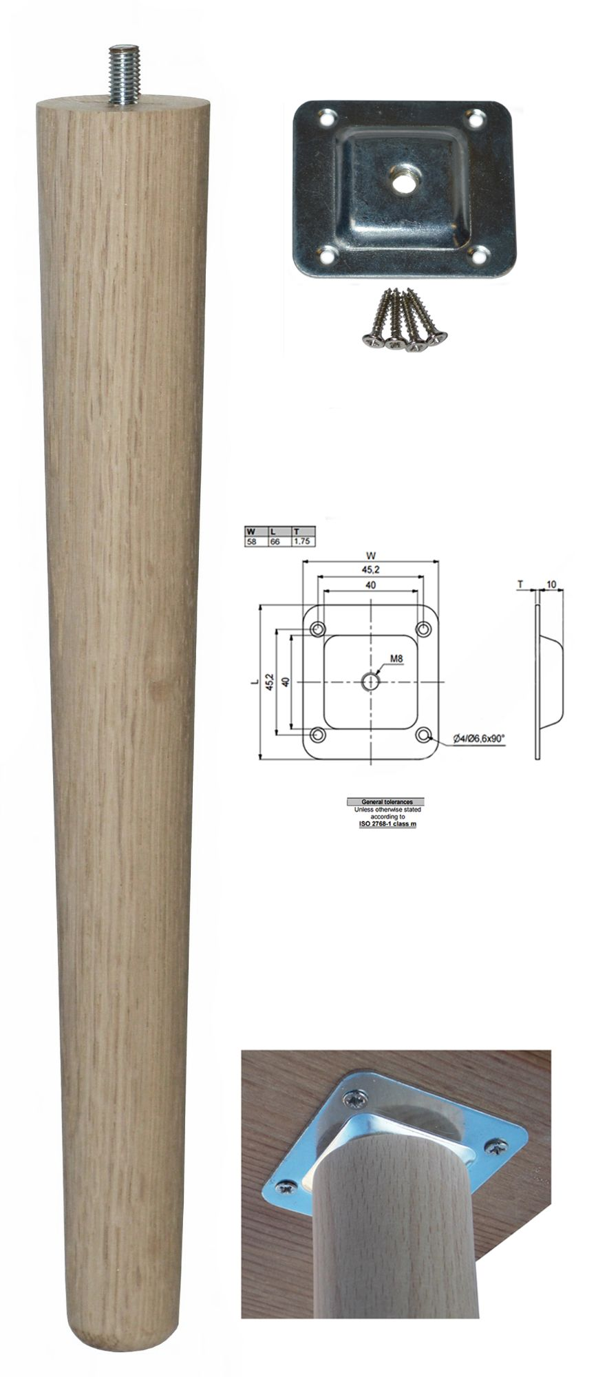 330mm Oak Tapered Leg w/ Level Fixing Plate
