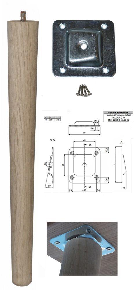 390mm Oak Tapered Leg w/ Angled Fixing Plate