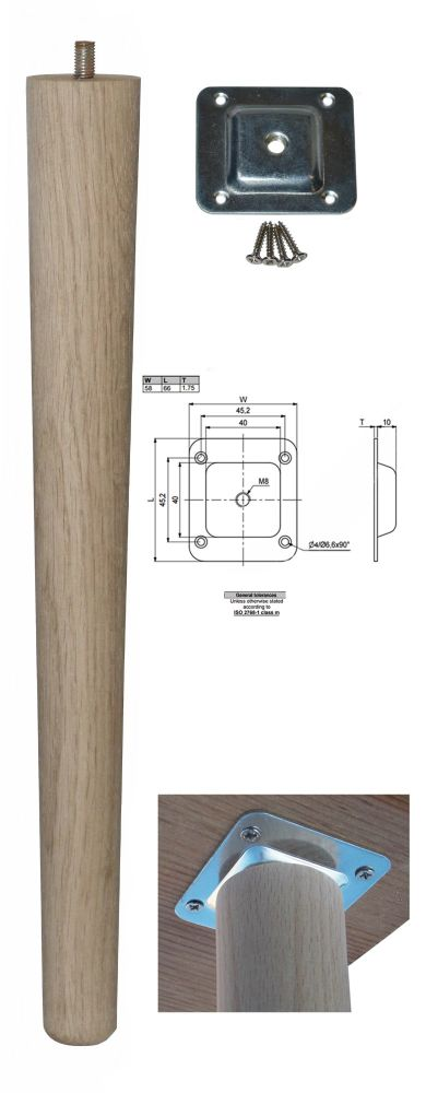 390mm Oak Tapered Leg w/ Level Fixing Plate