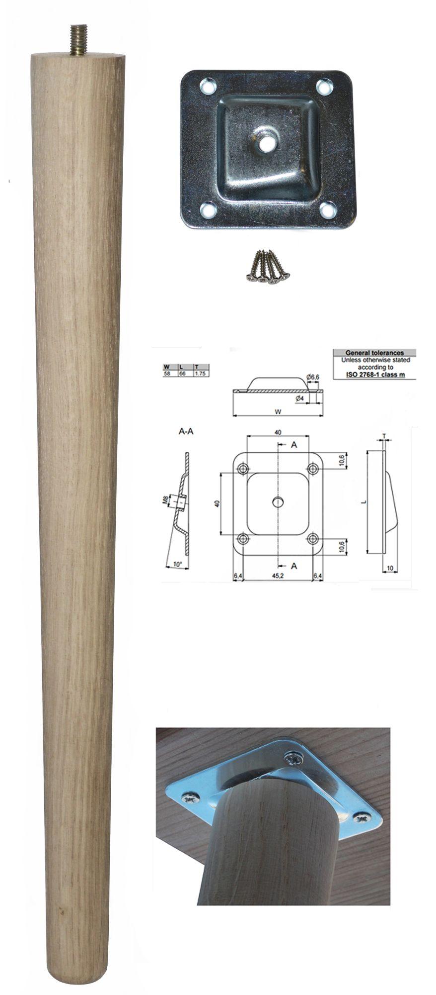 450mm Oak Tapered Leg w/ Angled Fixing Plate